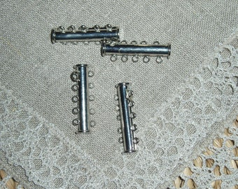 Slide Lock Clasps, Alloy, Matte Silver Color, 10 holes