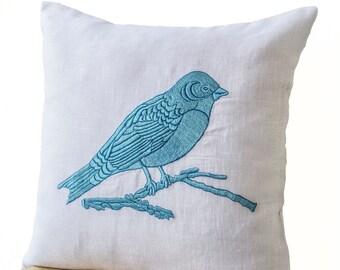 Decorative Throw Pillows Cover Blue Bird Embroidered White Linen, White Linen Sofa Pillow, Bird Pillow, Couch Cushion, Accent pillows, 16x16