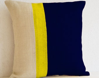 Burlap Pillows -Navy Blue Yellow Burlap Solid Stripe Color Block Pillow Blue Decorative cushion cover Navy Throw pillow In All Sizes