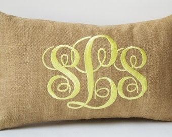 Burlap Monogram Pillows, Custom Lumbar Pillow Covers, Cursive Three Letters Monogram Pillows, Initial Cushion, Gift, Wedding Pillow, 12x20