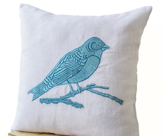 Decorative Throw Pillows Cover Blue Bird Embroidered White