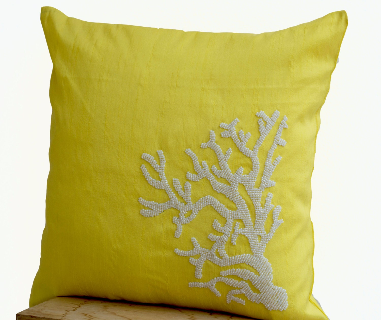 Yellow Silk Decorative Pillows : Decorative pillow with white coral on yellow silk by AmoreBeaute