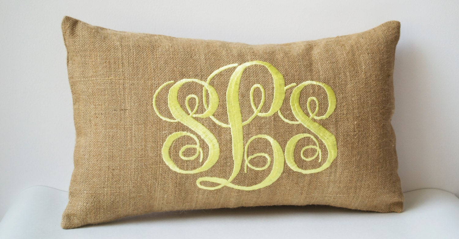 Decorative Monogram Pillow : Burlap Monogram Pillows Custom Lumbar Pillow Covers Cursive
