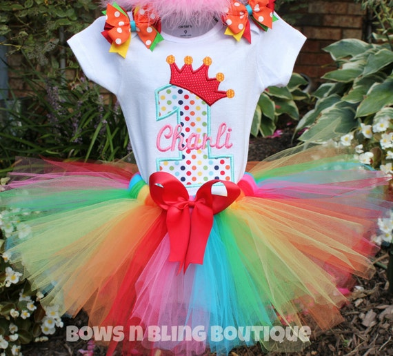 First Birthday Outfit Rainbow 1st Birthday By