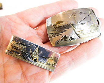 "1930s Art Deco 1"" Belt Buckle & Tie Clip, Dress Wear, Japanese Shakudo Amita Damascene Sterling Silver Hand Engraving w. Gold Enhancements."