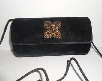 Black Evening Bag Vintage Black Velvet Purse Black Clutch Bag EB-0450