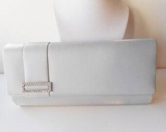 Silver Evening Bag Vintage Silver and Rhinestone Handbag Wedding Bridal EB-0584