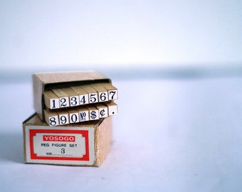 Numbers wooden rubber stamp set tiny size. Scrap booking supplies crafting cardmaking. Retro office supplies, 1980s very small number stamps