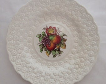 No.1 Copeland Spode England Fruit Plate Transfer ware and FREE plate hanger signed J. Price