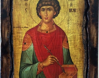SAINT ST. PANTELEIMON - Orthodox Byzantine icon on wood handmade (22.5cm x 17cm)