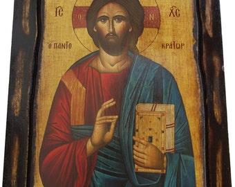 Jesus Christ - Pantocrator -  Orthodox Byzantine icon on wood handmade (22.5cm x 17cm)