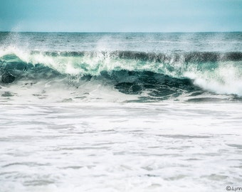"Beach Photography - waves crashing at Stinson beach in California, ocean, sea, ocean wall art, summer, blue wall decor - ""Vitality"""