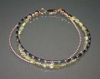 THREE ROW SEMIPRECIOUS Layered Peridot Haematite And Gold Fill  Bracelet For Men