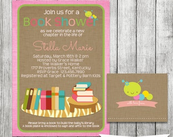 Baby Shower Invitation with Book Plate - Stock the Library - 5 x 7 JPG