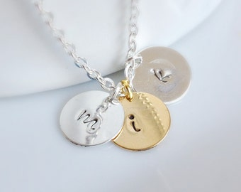 Initial Necklace, Gold Silver Initial Necklace, Personalized Necklace, Hand Stamped, Bridesmaid Gifts, UK Shop, Christmas Gifts, Layering
