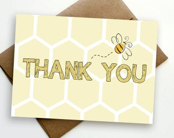 INSTANT DOWNLOAD Bee Thank You Card