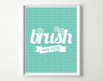 kids bathroom decor brush your teeth signs green bathroom art modern bathroom decor