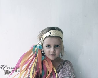 Kids Gypsy Rainbow Feather Headband Glitter Gold Leather Headdress by Paradise Gypsies