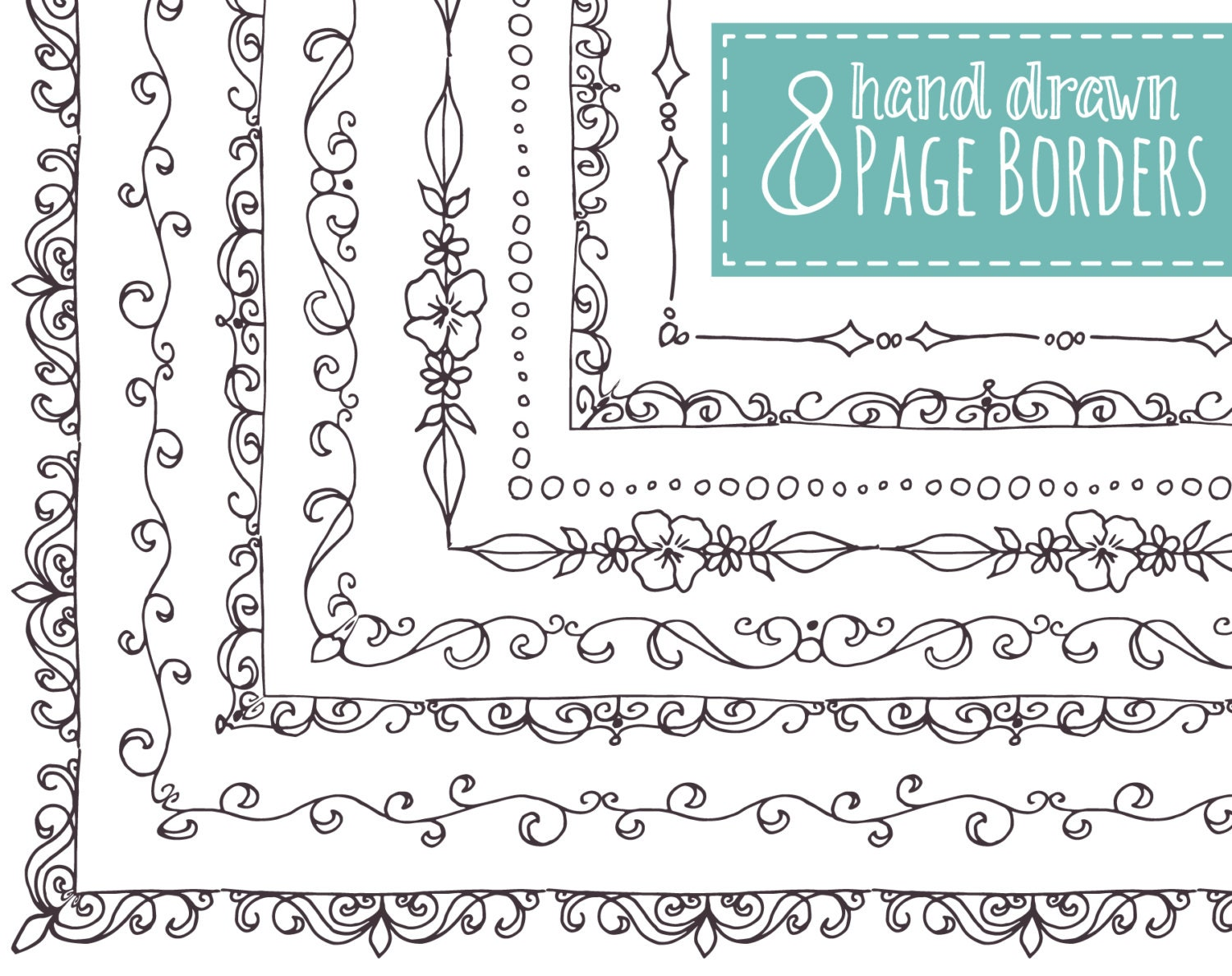 CLIP ART: 8 Page Borders // Hand Drawn Frames // Doodle //