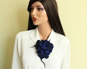 Felt brooch navy blue brooch Fancy flower  Unique flower Felted brooch,Midnight blue brooch