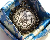 Paisley Necklace Hand Drawn Pendant Floral Design Nature Flower Art Henna Mehndi Vintage Style Handmade Jewelry Good Luck Symbolism