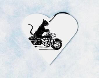 Harley davidson cat caricature biker art tree ornament