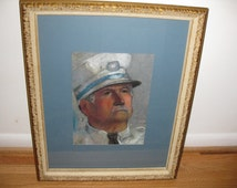 """ANTIQUE PASTEL DRAWING Portrait Of  Police Officer In Antique Frame 18 1/2"""" X 22 1/2"""""""