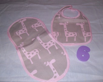 Set of Newborn Girls/Boys Bib and Burpcloth, Pink/Gray Giraffes, Light Blue/Baby Blue, Baby Boy