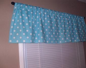 Handmade Curtain Valance, 50W x 15L, in Sea Blue /White Polka Dot Print,Home Decor,Nursery