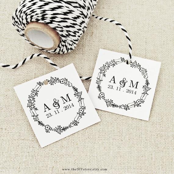 "DIY Favor Tags, Floral Wreath, Text Editable Printable, Small 1.7 x 1.7"" Square Tags, Gift Tag, Wedding Tags"