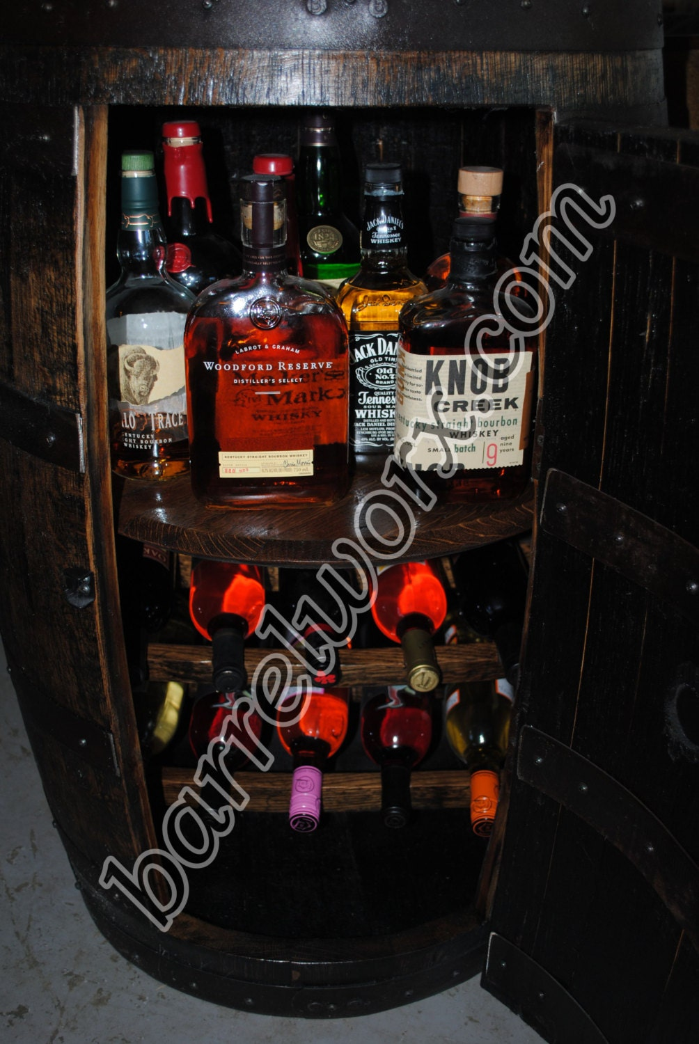 Whiskey Barrel Liquor Cabinet W Lazy Susan Amp Built In Wine