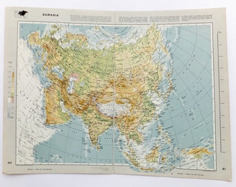 Very Large Eurasia map - Vintage Map of Eurasia - travel souvenir