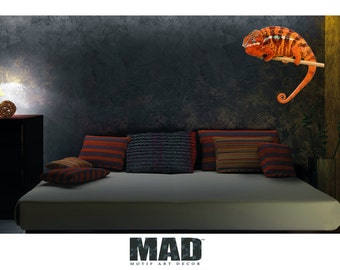 wall sticker wall decal chameleon orange