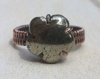 Pyrite Wire Wrapped Ring - Wire Wrapped Jewellery Handmade - Wire Jewellery - Pyrite Jewellery