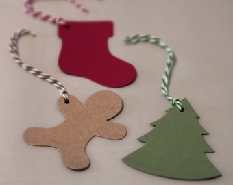 Die Cut Christmas Gift Tags set of Twelve with Stockings, Gingerbread Men and Christmas Trees, Party Favor Gift Tags