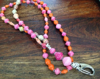 Gorgeous pink and orange lanyard ID badge holder made from recycled fair trade paper beads