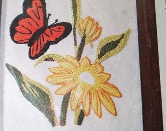 Monarch Butterfly Daisies Crewel KitWool Yarn Caron Flowers 1977