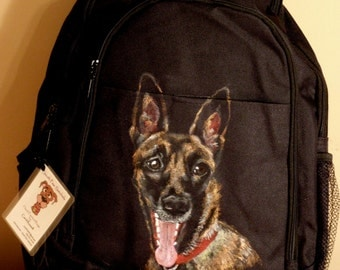 Backpack - A Custom Painted Portrait of Your Pet - Black Laptop Backpack