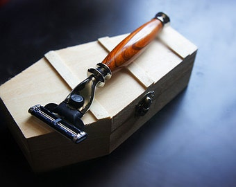 Coffin box and rosewood razor