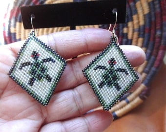 Native American Style Beaded Turtle Earrings
