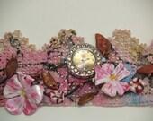 Cuff bracelet watch, lace cuff, vintage lace bracelet, steampunk cuff watch, ladies watch cuff