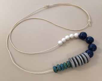Cotton Chord and Mixed Wood, Porcelain and Metal Necklace - Handmade by BethsGemBoutiq