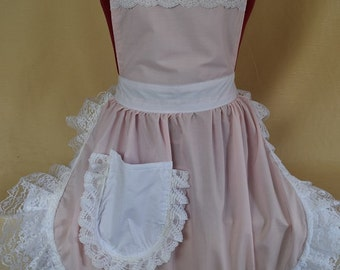 Retro Vintage 50s Style Full Apron / Pinny - Baby Pink & White with Lace Trim