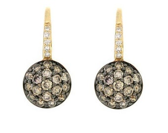 0.55 Carat Pave Cognac Champagne Fancy-Brown Diamond Drop Dangle Leverback Earrings High Polished 14k Yellow Gold
