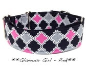 Martingale Dog Collar  - Glamour Girl - Pink