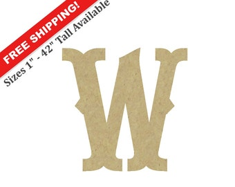 "Wooden Wall Letter ""W"" – Unpainted, Decorative Font -- Perfect for Crafts, DIY, Nursery, Kids Rooms, Weddings – Sizes 1"" to 42"""