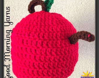 Apple Hat with a Worm Crocheted Beanie