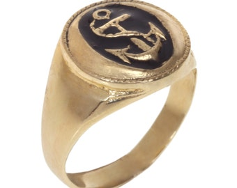 Anchor Signet ring inlaid with black enamel, Pinkie Anchor signet ring, Seal ring