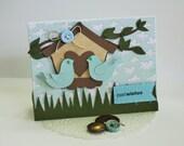 Best Wishes Love Birds and Bird House Die Cut Dimensional Wedding Card