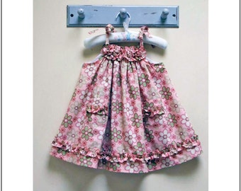 Sewing pattern Daisy Sundress, childrens pdf dress sewing  pattern & tutorial for 4 versions sizes 6-9 months to 8 years, baby dress pattern